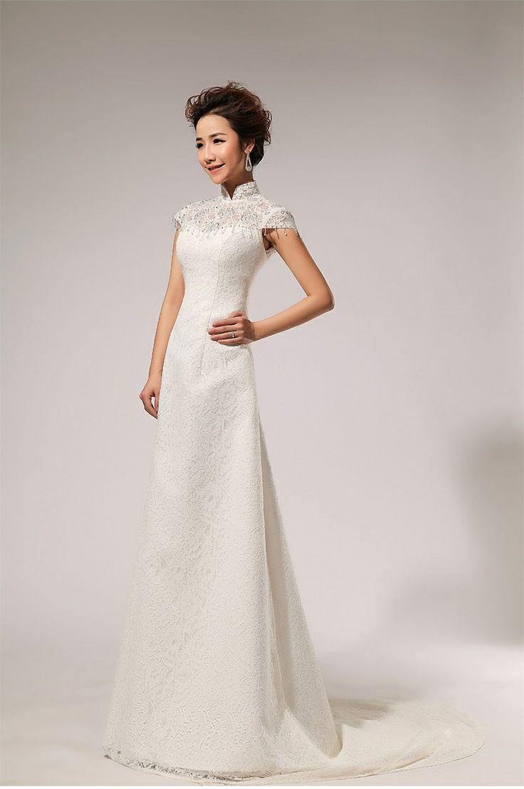 Ok wedding gallery the beauty dress of cheongsam 2013 - New Arrival 2014 Women Ladies Custom Made Lace A Line Mermaid White Wedding Dress Vintage