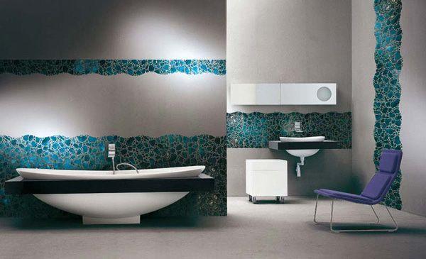 50 Mosaic Design Ideas For Bathroom | InteriorHolic.com  ///love the random blue mosaic against the white