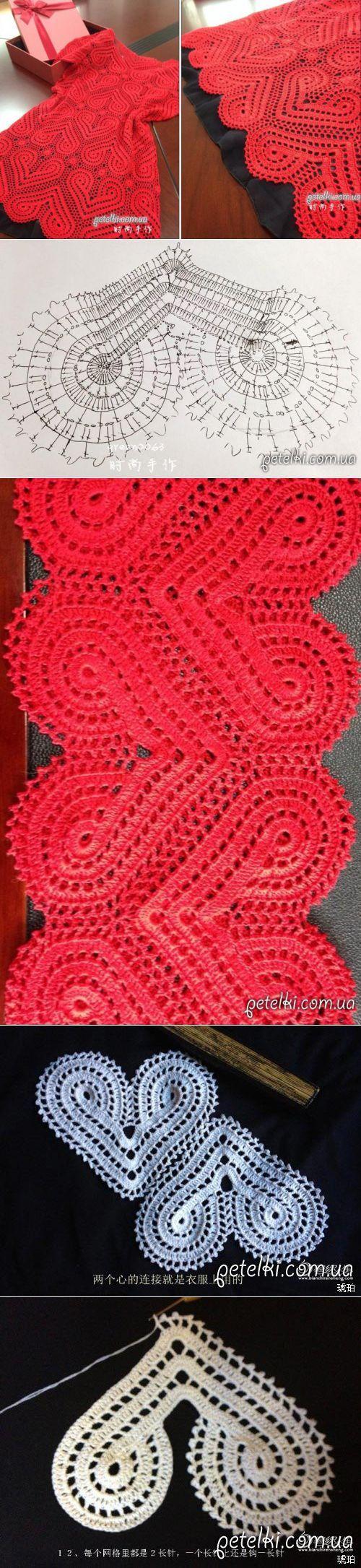 Вяжем крючком. Красное сердечное платье. Схемы, МК | VEAZANIE | Постила
