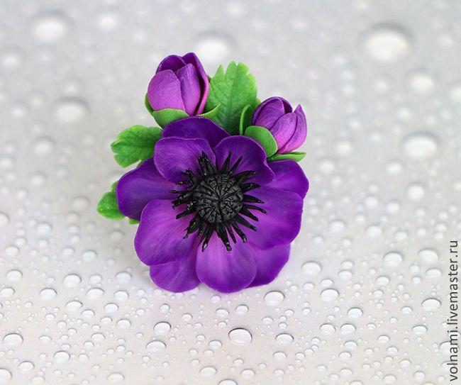 """Купить """"Анемона"""" кольцо - тёмно-фиолетовый, анемоны, цветы ручной работы, кольцо, подарок девушке"""