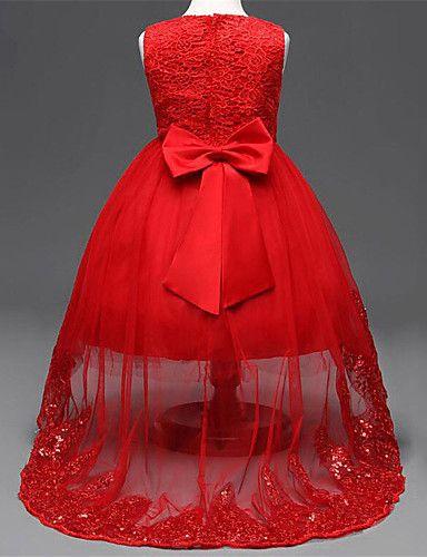 Vestido Chica de Noche Un Color Rayón Sin Mangas Todas las Temporadas Lazo  De Encaje Rojo Rosa 5b8dde64e0f8
