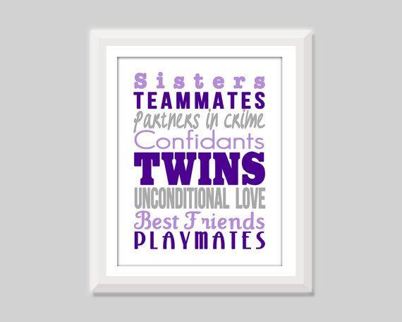Twin Girl Nursery Art Twin Sisters Print Twin by SweetPapelDesigns