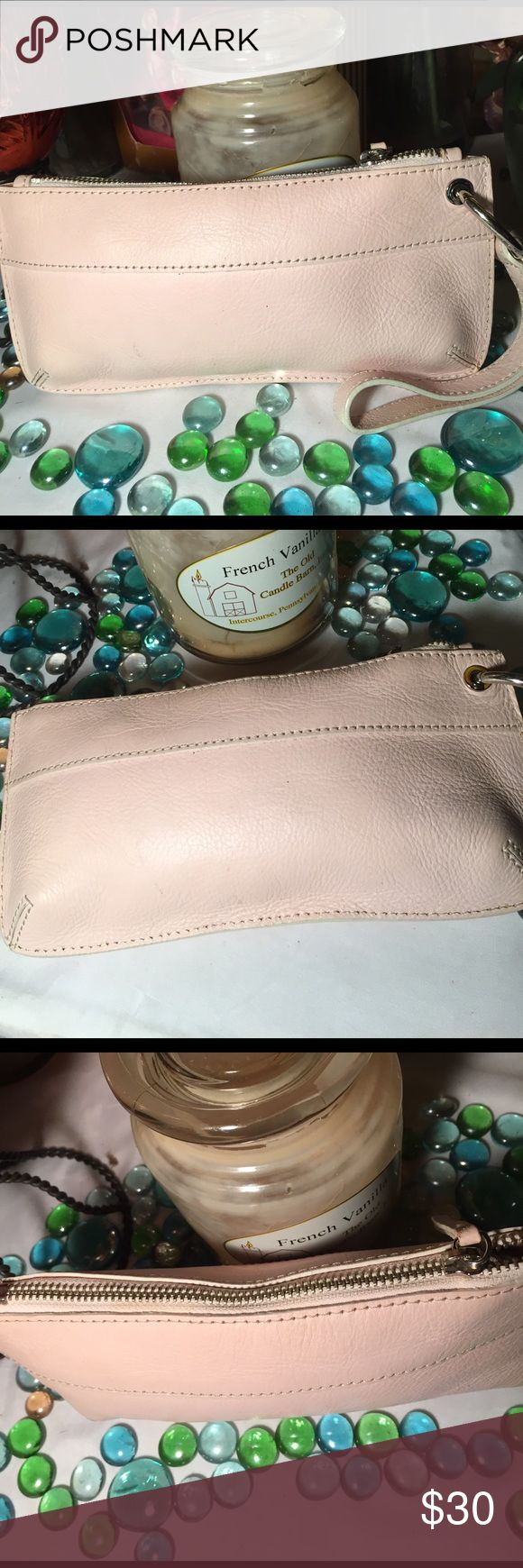 Banana Republic Wristlet Sz 5x9- Genuine leather- Good condition- Some cosmetic stains inside interior- Sift pink- Very nice. Banana Republic Bags Clutches & Wristlets