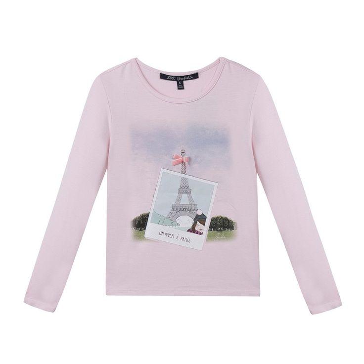T-shirt rose pâle Lili Gaufrette Fille   Kidiliz