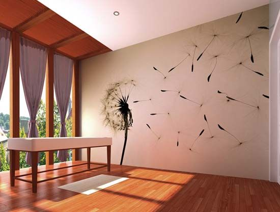 flower photography and digital printing are used for wall decoration