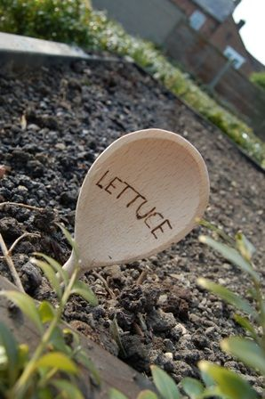 plant labels out of wooden spoons: Child Friendly Garden, Flowers Outdoors Gardening, Garden Labels, Dollar Store, Future Garden, Wooden Spoons