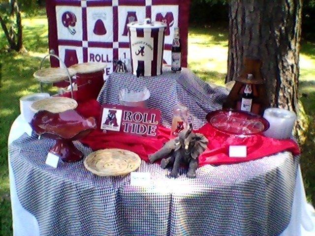not so much the bama stuff but the idea of having different piesdesserts on a table all about the groom