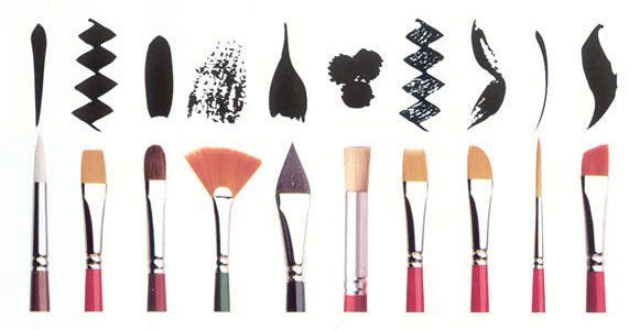 brushes & shows which to use for different things you are trying to paint!