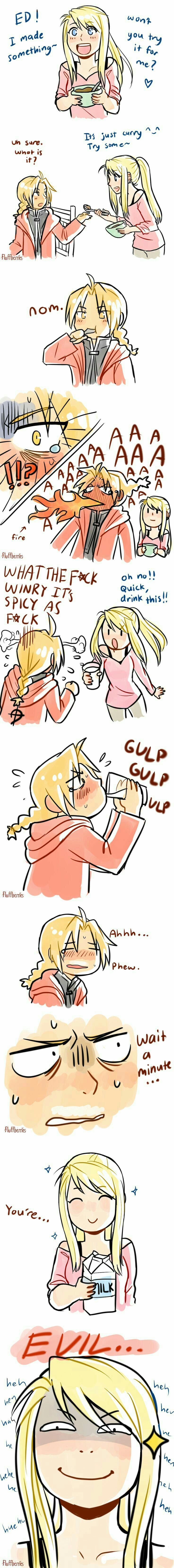Winry, Edward, milk, funny, text, comic, curry, spicy; Fullmetal Alchemist