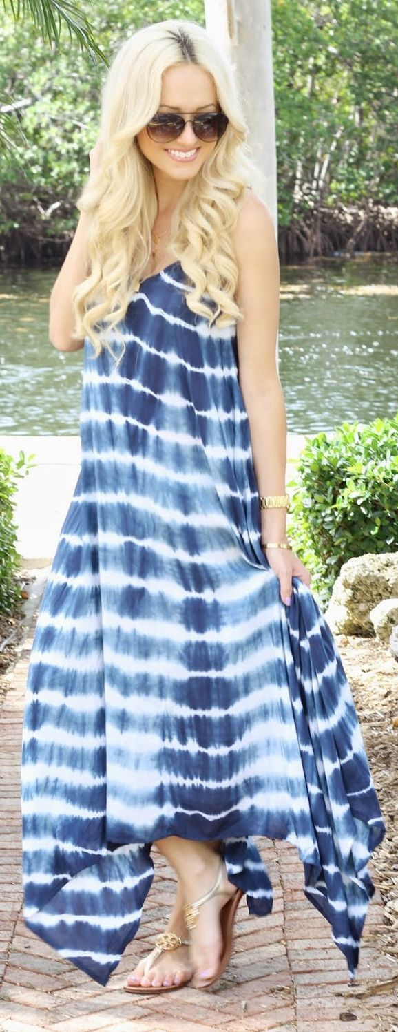 Chic In City 2- Billabong Blue Daze Tie-dye Handkerchief Maxi Cami Dress by A spoonful of Style- ♔LadyLuxury♔