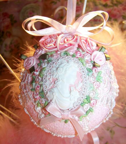 Shabby Victorian Christmas Ornament Cameo Venise Lace Pink Roses Pearls |  EBay