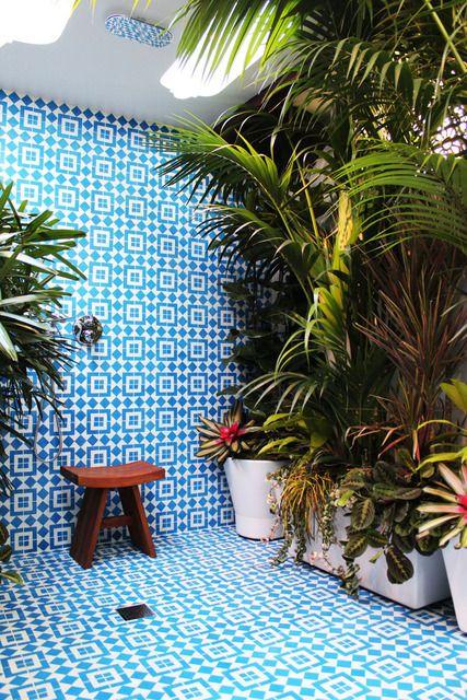 outdoor shower idea via @Apartment Therapy: Bathroom Design, Long Beaches, Outdoor Shower, Blue Tile, Dreams Bathroom, Tropical Plants, Tile Shower, Shower Rooms, Design Bathroom