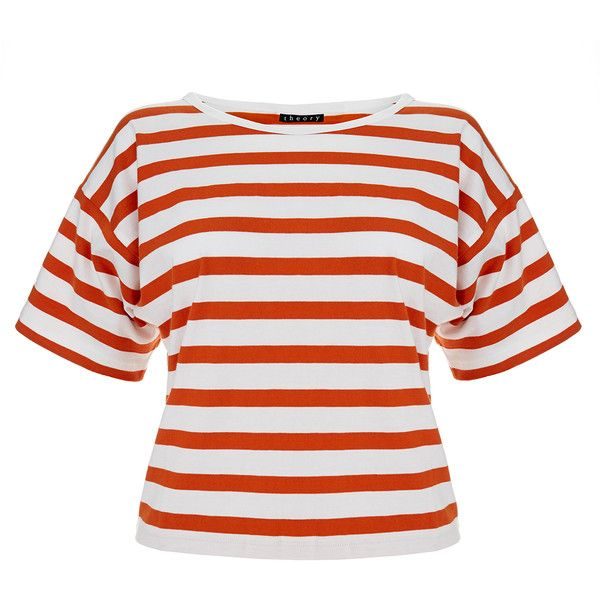 Theory Fayla Red and White Nautical Stripe Top (2.745 RUB) ❤ liked on Polyvore featuring tops, blusas, red, nautical striped top, cut-out crop tops, short sleeve crop top, relaxed fit tops and red and white top