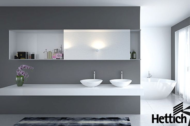 The SlideLine M Sliding Door System with optional soft-close Silent System available from Hettich. Click the pin for more inspiration. #bathroomcabinets #slidingdoors