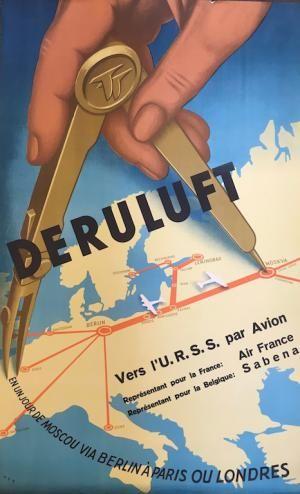 #Dereluft Vers l'U.R.S.S par avion. Par Sabena et Air France  Affiche mises en vente le vendredi 15 septembre 2017, par Damien Voglaire - Les ventes Ferraton.  Dernier jour d'exposition mercredi 13 septembre de 10 à 18h. Détails sur www.ferraton.be  #affiche #poster