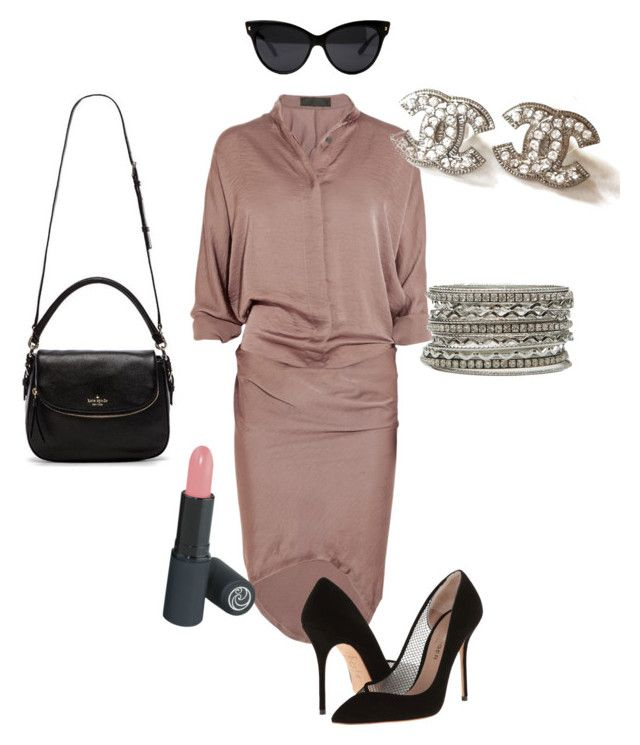 A night in Paris by shylastylez on Polyvore featuring polyvore, fashion, style, Haider Ackermann, Kurt Geiger, Kate Spade and Chanel
