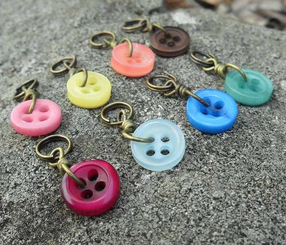 Extra Small Knitting Stitch Markers Button It set of 8