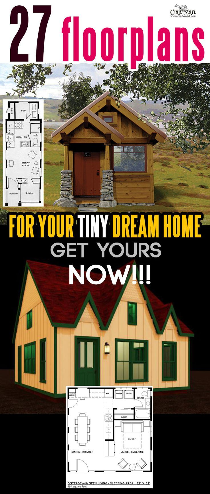 27 Adorable Free Tiny House Floor Plans | Tiny house plans, House ...