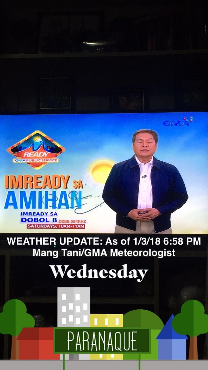 Weather Update: As of 1/3/18 6:58 PM (Report by: Mang Tani/GMA Meteorologist) [Courtesy: 24 Oras/GMA Network]