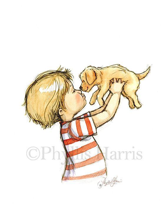 Amour de chiot - garçon avec chiot golden retriever - Dog art