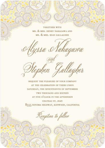 Intricate Allure - Signature White Wedding Invitations - East Six Design - Black : Front