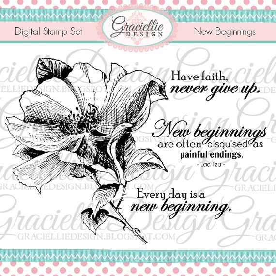 New Beginnings Digital Stamp Set by GraciellieDesign on Etsy