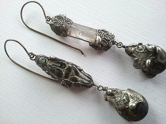 Rustic Boho Goddess Quartz Crystal Earrings  by SashaCrowDesigns