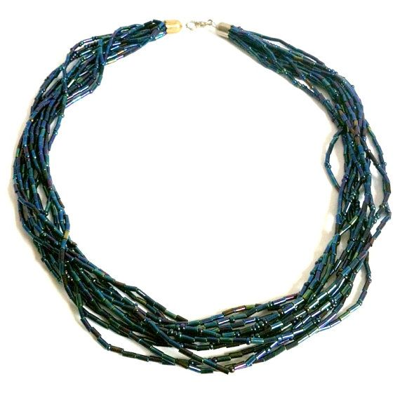 Vintage Teal Green Seed Bead Necklace Blue by ClearWaterDesignsbyK