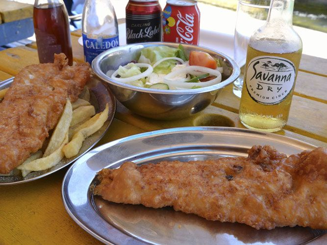 Fish and chips at kalkies kalk bay 15 minutes from for Food barn noordhoek