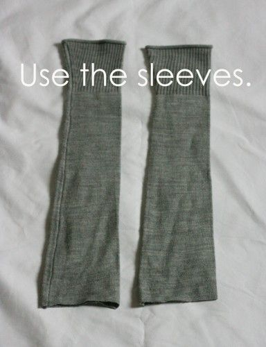 Use the sleeves of an old thrift store shirt to make boot socks.  Add buttons, lace, patches, etc.