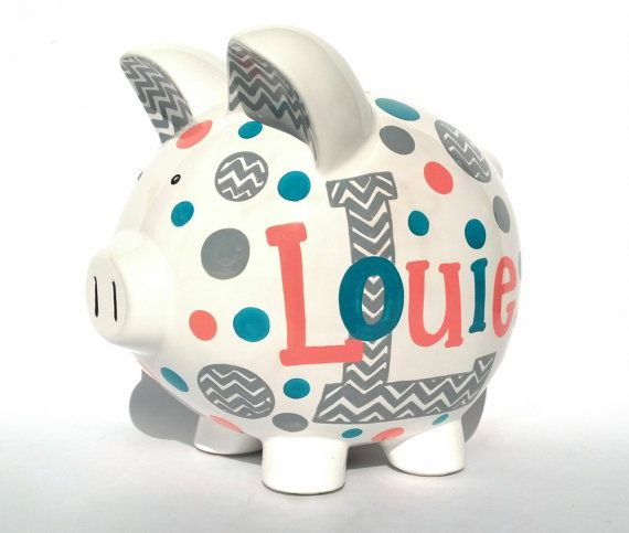 Chevron Personalized Piggy Bank Coral Grey by SamselDesigns