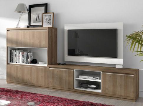 Mueble de salón en acacia y blanco