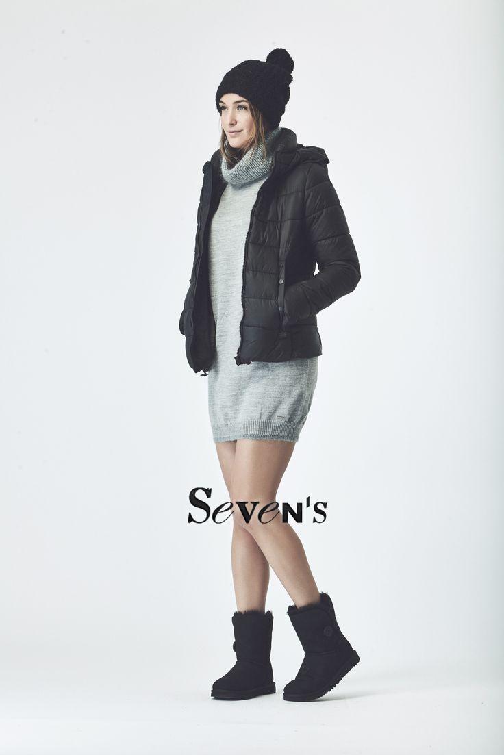 Doudoune GERTRUDE - Robe DIESEL - Boots UGG   www.boutiques-sevens.com   #Doudoune #GSTAR #robe #diesel #ugg #women #fashion #winter15 #hiver15 #mode #casual #cocooning #black #grey #dress #sevens
