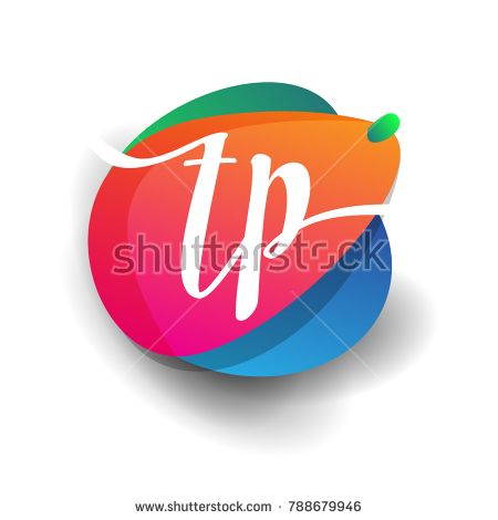 Letter TP logo with colorful splash background, letter combination logo design for creative industry, web, business and company.