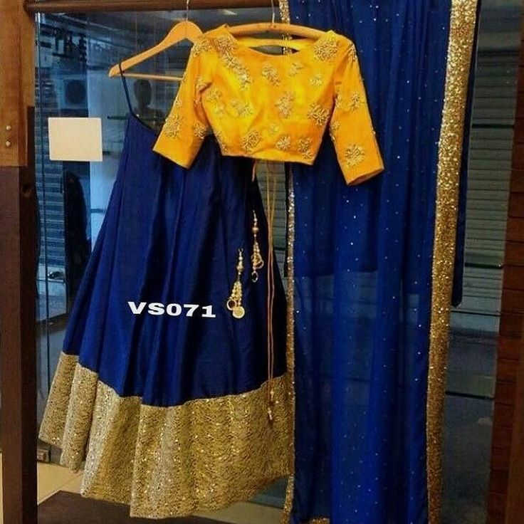 Yellow and Blue Designer Lehenga Choli  Product Info : Semi stitch skirts size waist 40 Length in raw silk semi stitch with 4 meter flair and 10 inches border Blouse - 1 meter unstitched pure raw silk with hand work ( yellow color) Stitching style- pleates Dupatta - nett with studded pearl and sequences border Color can be changed Weight - 1.5 kg  Price : 4900 INR Only ! #Booknow  CASH ON DELIVERY Available In India ! World Wide Shipping !  For orders / enquiry  WhatsApp @ 91-9054562754 Or…