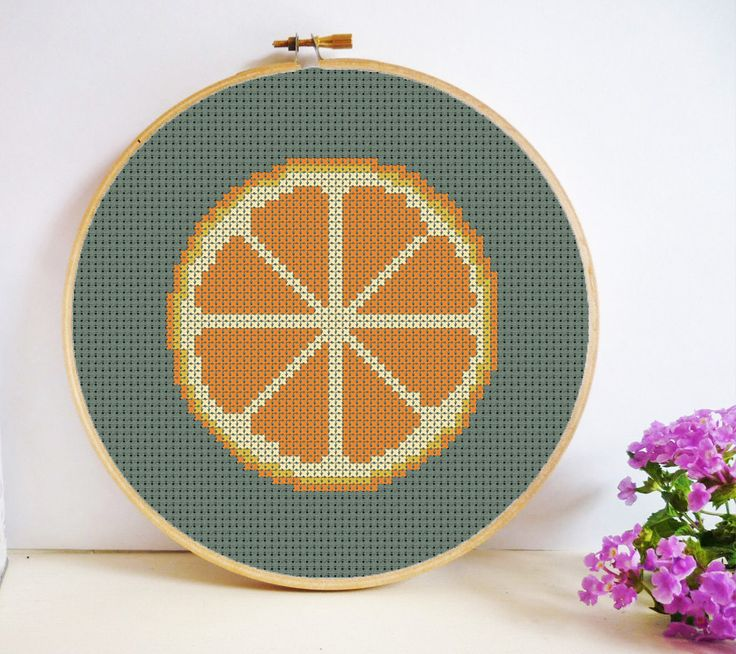 Orange Slice Cross Stitch Pattern PDF Instant Download - Cross Section - Small, Simple and Quick to Stitch by HeritageStitch on Etsy