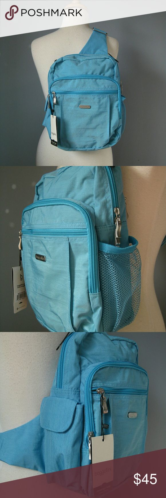 """NWT Baggalini Turquoise one shoulder Backpack Roomy organizer backpack. Brand new. 9"""" x 12"""" x 7"""" . Adjustable strap. Baggallini Bags Backpacks"""