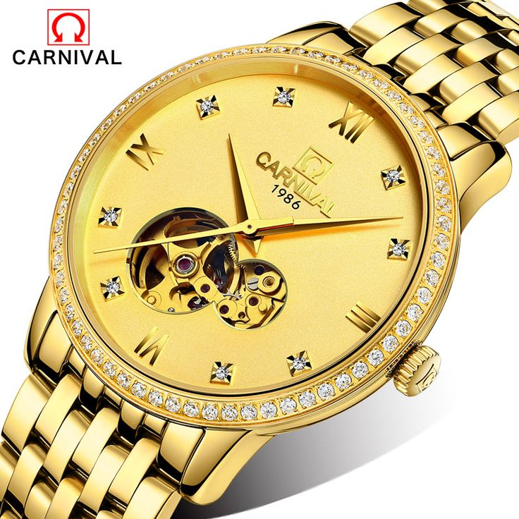 Mens Watches Top Brand Luxury Automatic Mechanical Watch Clock CARNIVAL 2017 New Series Auto Date Golden case relogio masculino #Affiliate