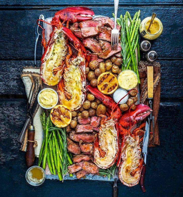 """A Bachelor & His Grill on Instagram: """"Woodfire-grilled surf & turf platter with prime-grade tenderloin steak, fresh Maine lobster, a garden of fresh greens and fragrant herbs.…"""""""