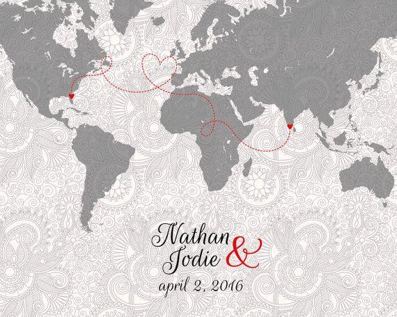 Mappa di relazioni a distanza  amici lontani   regalo di luzdesign