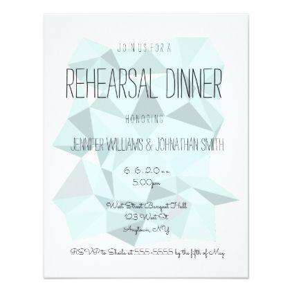 #simple - #Blue geometric modern rehearsal dinner invitations
