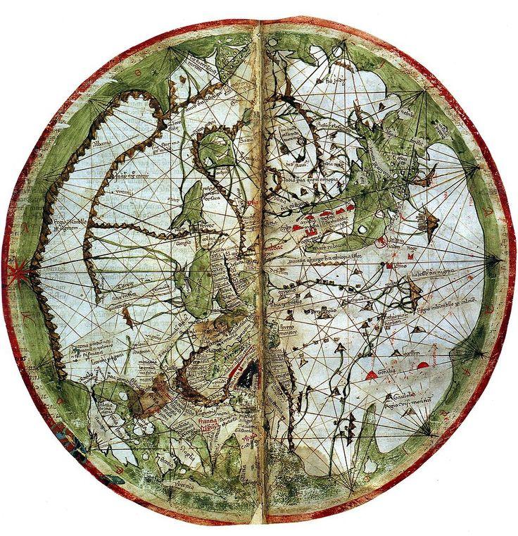 Mappa Mundi from Marino Sanuto's Liber secretorum (oriented with East at the top), circa 1320, British Library