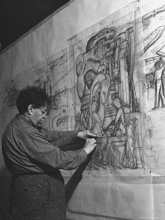 Diego Rivera Working on Pencil Sketches for Mural Depicting Pan American Unity                                                                                                                                                      Más