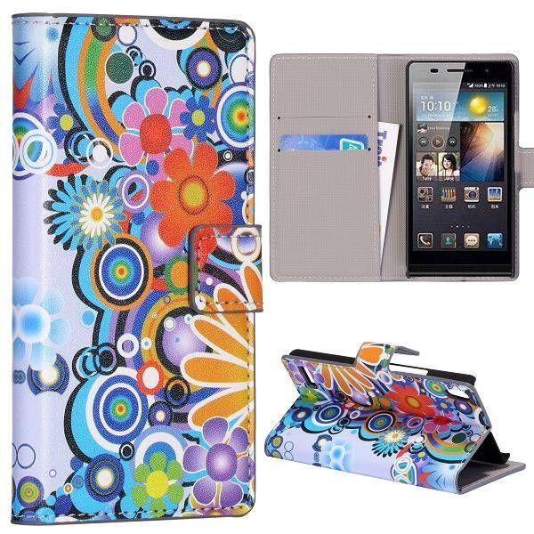Powerflower bookcase hoesje voor de Huawei Ascend P6