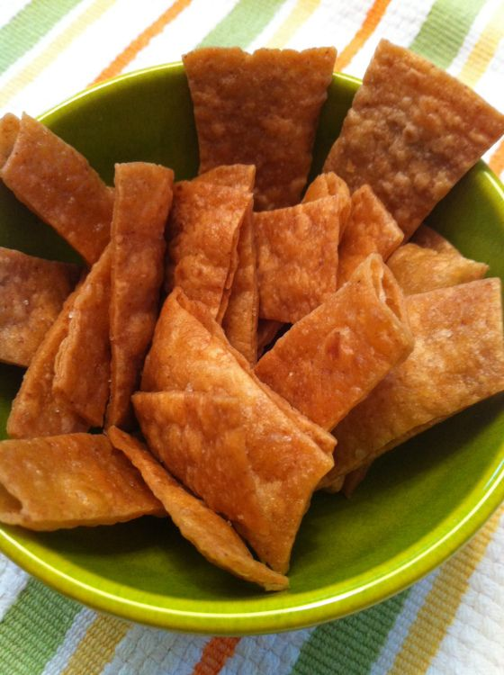 low carb tortilla chips - cut a Mission low carb tortilla into small strips, drizzle with 2T olive oil and coat well - sprinkle with sea salt.  Line baking sheet with parchment paper and lay out the tortilla slices without overlapping.  Bake at 325 for 8 minutes or until crisp