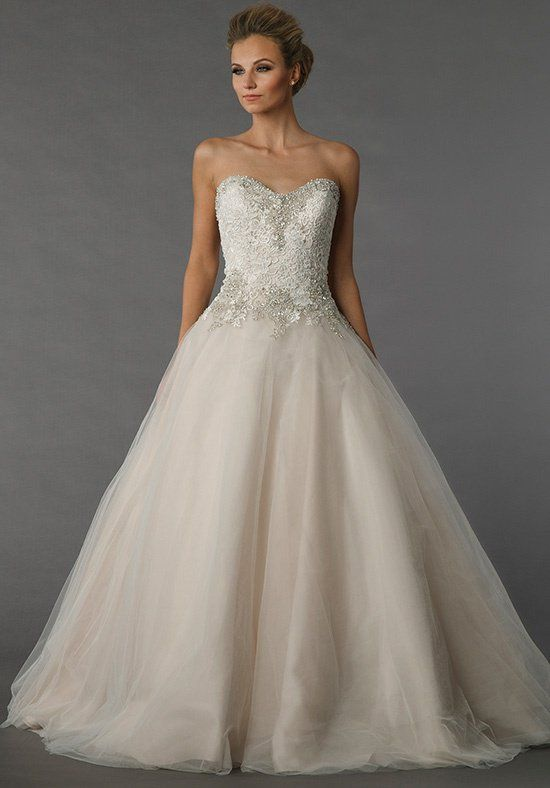 Danielle Caprese for Kleinfeld 113078 - This ball gown features a sweetheart neckline with a natural waist in tulle and beaded embroidery. It has a chapel train.
