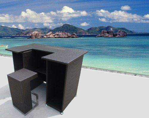 Outdoor Wicker Patio Furniture New Resin 4 Pc Bar Dining Server Table U0026  Barstool Set By