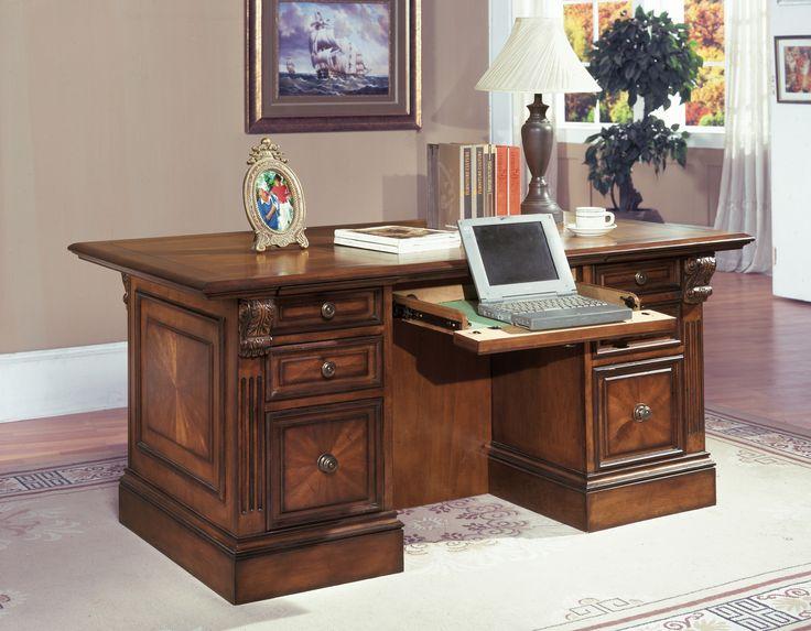 Huntington Antique Vintage Pecan 3 Piece Double Pedestal Executive Desk