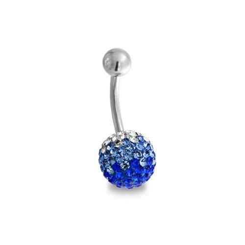 Ombre Blue Crystal Shamballa Inspired Ferido Ball Belly Ring Steel