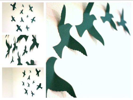 Paper Birds Wall Decor : Bird wall decal art for nursery